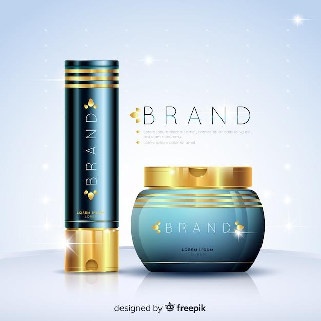 Cosmetische advertentie met een realistisch ontwerp Gratis Vector