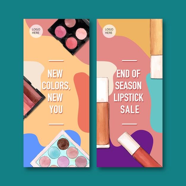 Cosmetische banner met lippenstift, oogschaduw Gratis Vector