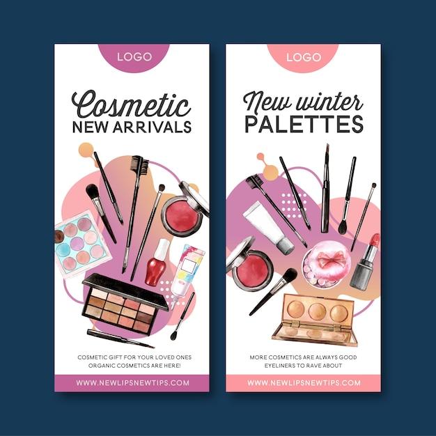 Cosmetische banner met markeerstift, lip tint, oogschaduw Gratis Vector