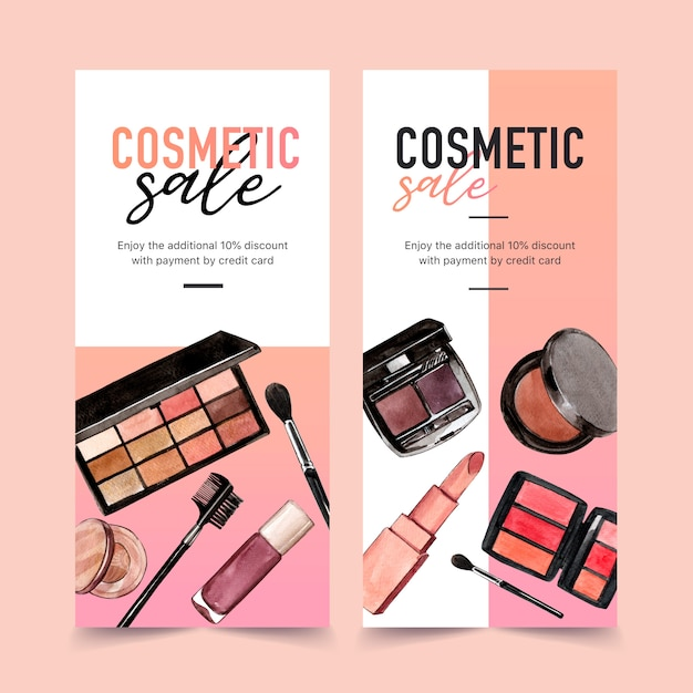 Cosmetische banner met oogschaduw, lippenstift Gratis Vector