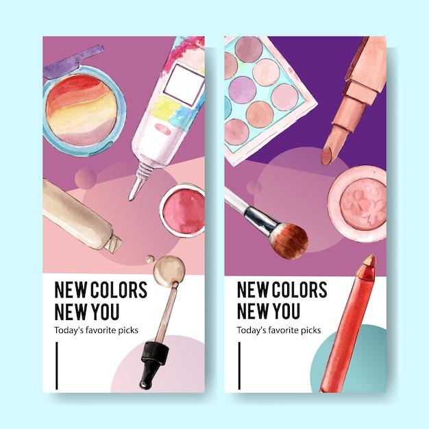 Cosmetische banner met oogschaduw, penseel, lippenstift Gratis Vector