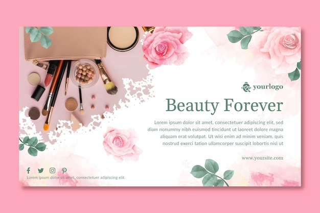 Cosmetische banner sjabloonontwerp Gratis Vector