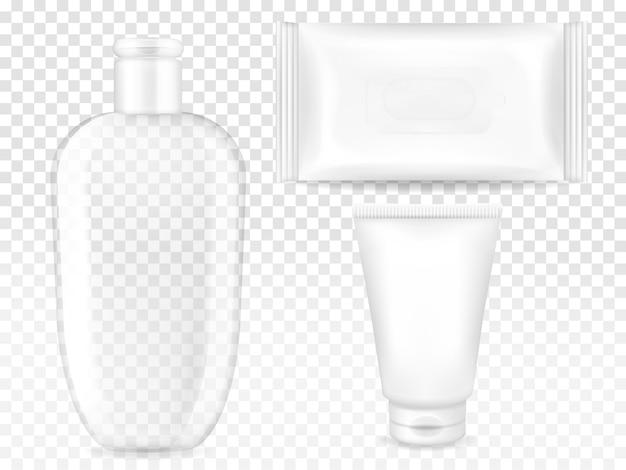 Cosmetische containers illustratie van 3d-realistische model sjablonen voor merk. Gratis Vector