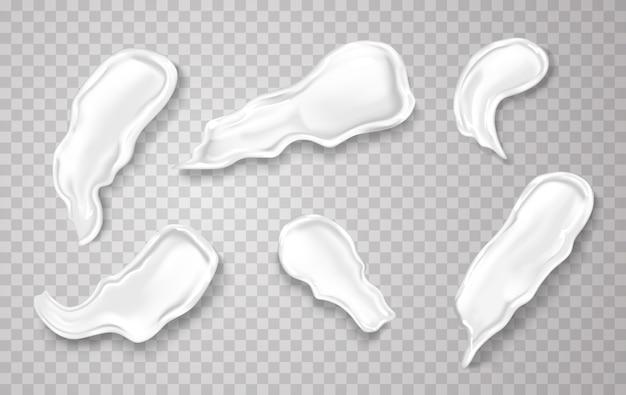 Cosmetische crème spatten in realistische afbeelding. Premium Vector