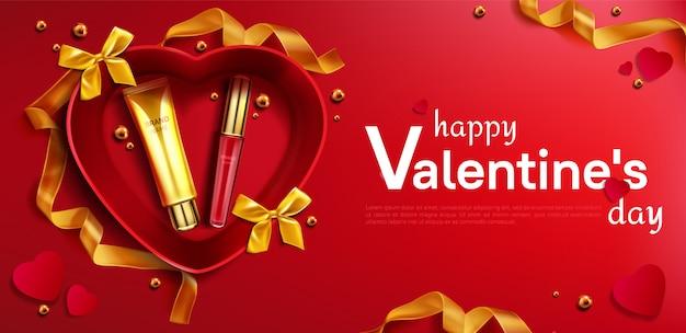 Cosmetische crème tube en lippenstift voor valentijnsdag Gratis Vector