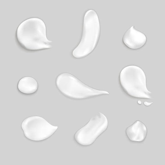 Cosmetische crème uitstrijkjes realistische icon set Gratis Vector