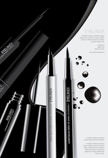 Cosmetische eyeliner met verpakking poster ontwerp vectorillustratie Premium Vector