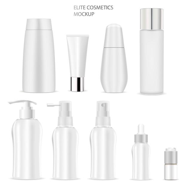 Cosmetische fles mockup. zeep, shampoo, tube, cream Premium Vector
