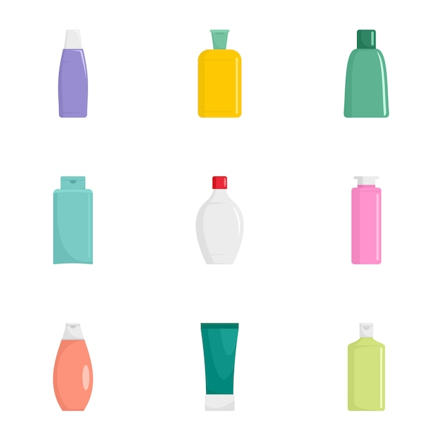 Cosmetische fles pictogramserie. platte set van 9 cosmetische fles pictogrammen Premium Vector