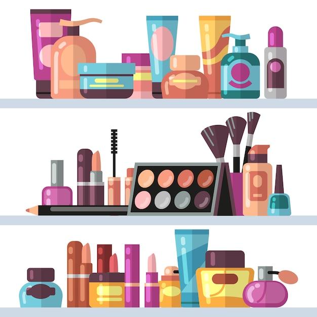 Cosmetische flessen op winkelschappen. vrouwenschoonheid en zorg vectorconcept Premium Vector