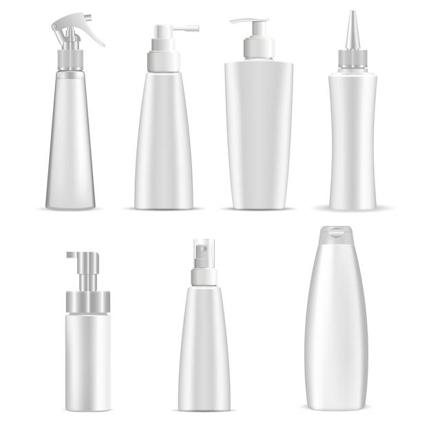 Cosmetische flessen Premium Vector