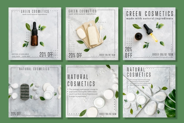 Cosmetische instagram posts concept Gratis Vector