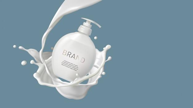 Cosmetische melkwerveling, plons en witte pompfles Gratis Vector