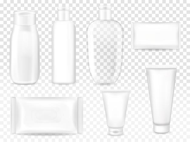 Cosmetische pakketten illustratie van shampoo of lotion plastic fles, gezichtscrème buis of zeep Gratis Vector