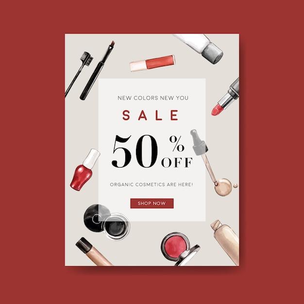 Cosmetische poster met lip tint, wenkbrauwpotlood, foundation Gratis Vector