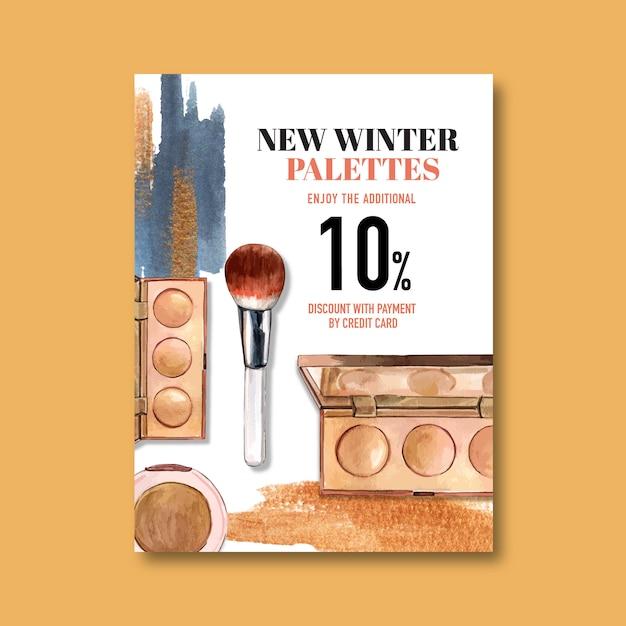 Cosmetische poster met markeerstift, penseel Gratis Vector