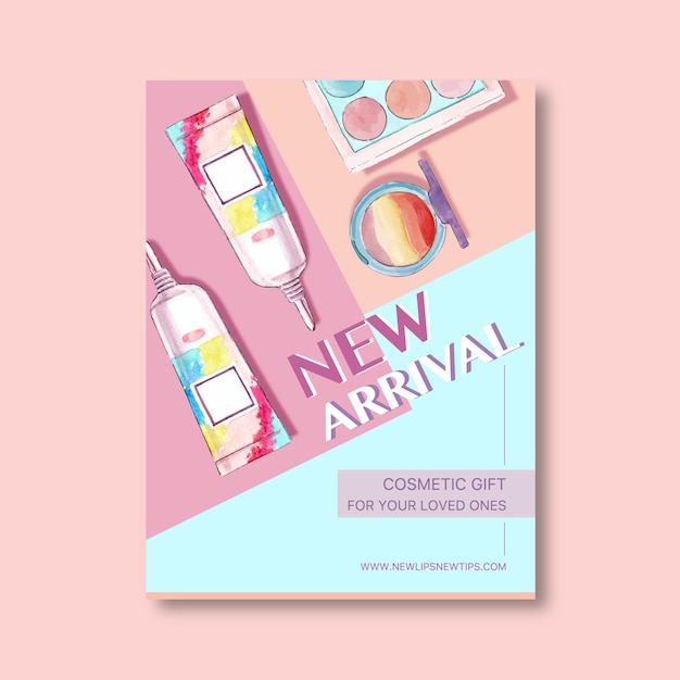 Cosmetische poster met oogschaduw, penseel op Gratis Vector