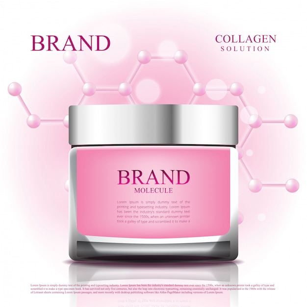 Cosmetische pot vermindert veroudering met molecuulverpakking Premium Vector