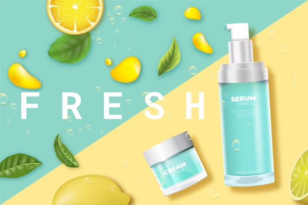 Cosmetische product huidverzorging fris met citroen advertentie Gratis Vector