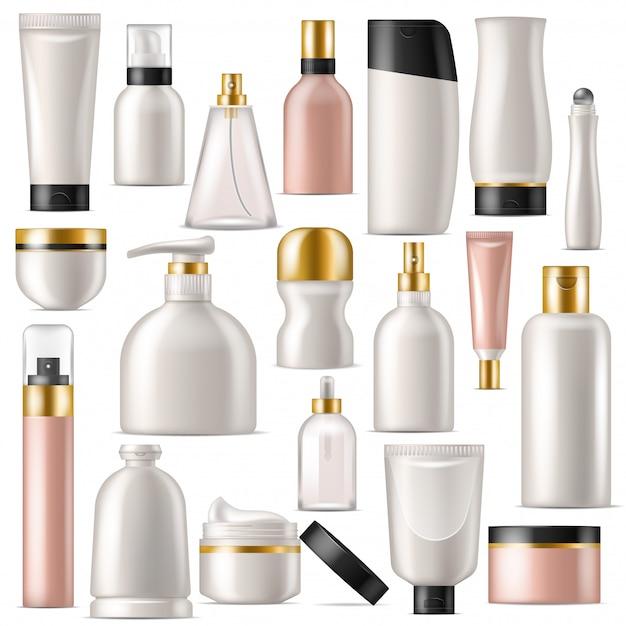 Cosmetische product vector huidverzorging crème fles sjabloon en buis of container mockup Premium Vector
