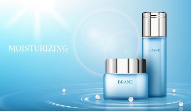 Cosmetische producten op het wateroppervlak met parels en zonneschijn Premium Vector