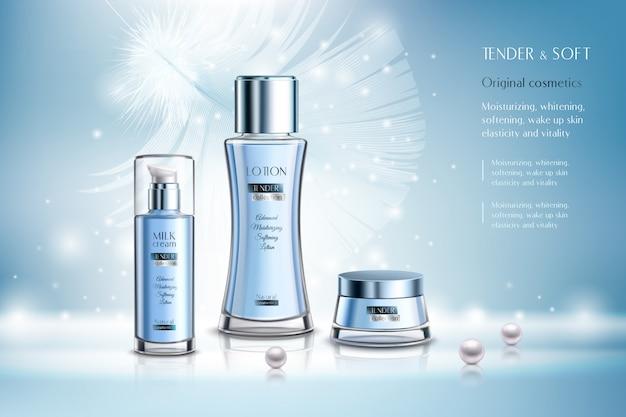 Cosmetische producten reclamesamenstelling Gratis Vector