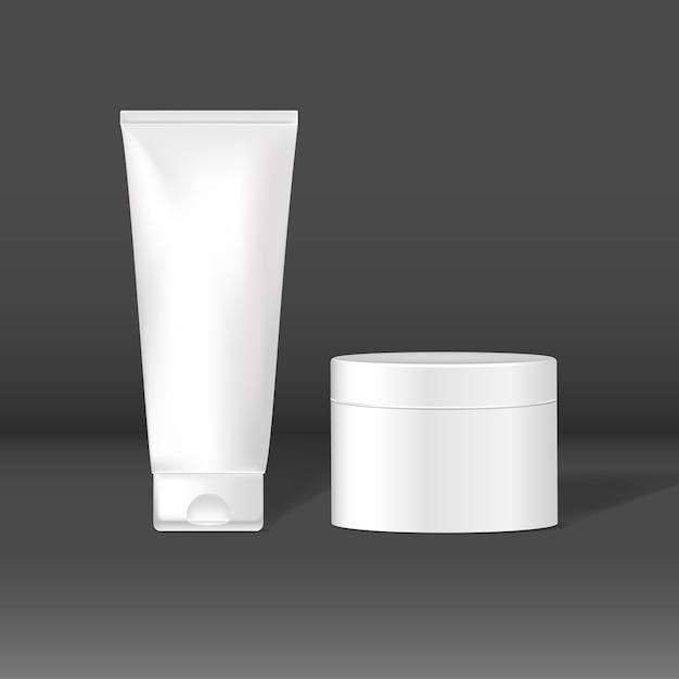 Cosmetische reageerbuizen en potmodellen Gratis Vector