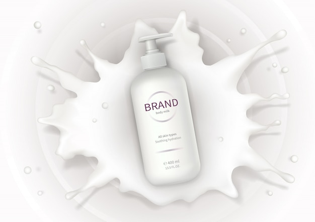 Cosmetische realistische vector achtergrond met crème Gratis Vector