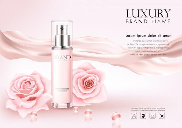 Cosmetische reclame Premium Vector