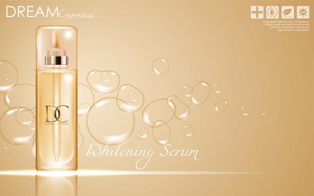 Cosmetische serumverzorgingscrèmeverpakking Premium Vector