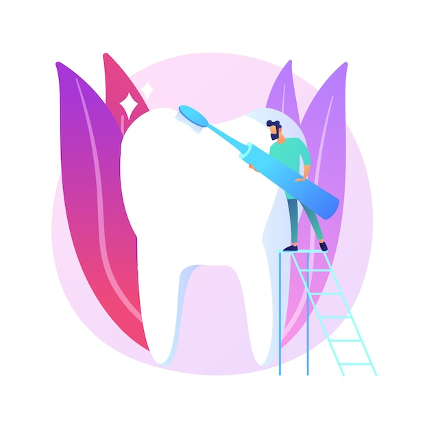 Cosmetische tandheelkunde abstract concept illustratie. cosmetische tandheelkundige zorg, tanden bleken, herstellende tandheelkunde, glimlach make-over, esthetische behandeling, medische centrum abstracte metafoor. Gratis Vector