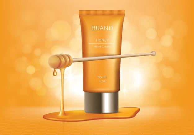 Cosmetische tube met honingdruppels Gratis Vector