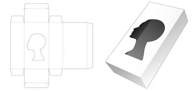 Cosmetische verpakking met gestanst sjabloon in portretvorm Premium Vector