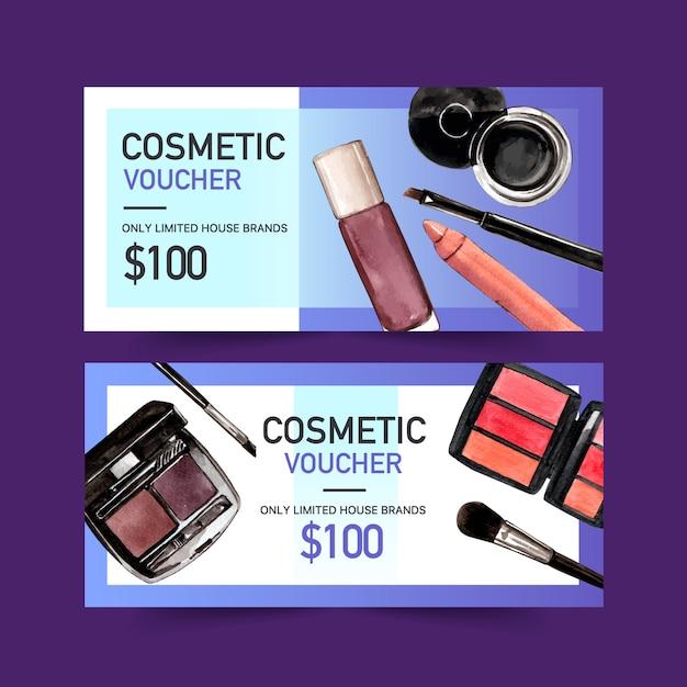 Cosmetische voucherset met eyeliner, lippenstift, wenkbrauwpalet Gratis Vector