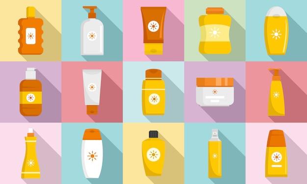 Cosmetische zon bescherming pictogramserie Premium Vector