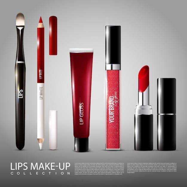 Cosmetologie realistische producten instellen Gratis Vector