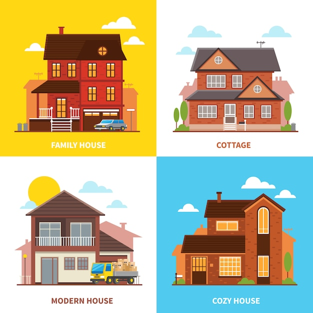 Cottage huis ontwerpconcept Gratis Vector