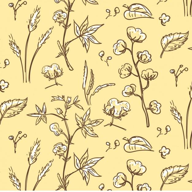 Cotton plant pattern Gratis Vector
