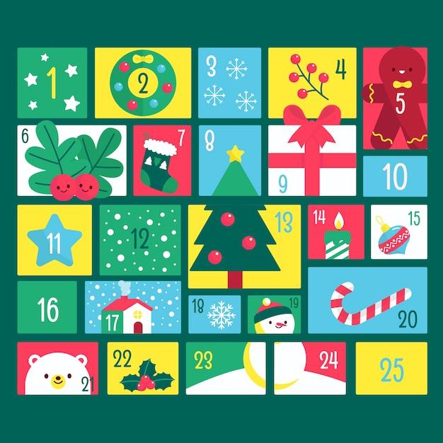 Countdown kalender voor eerste kerstdag Gratis Vector