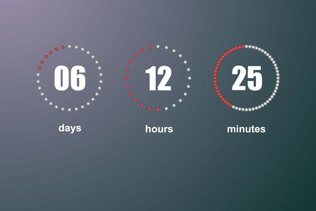 Countdown sjabloon digitale klok Premium Vector