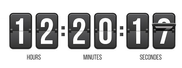 Countdown timer met cijfers, klok teller. Premium Vector