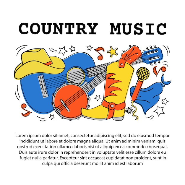 Country music artikel western festival Premium Vector