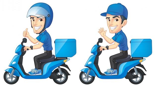 Courier boy rijdt op scooter Premium Vector