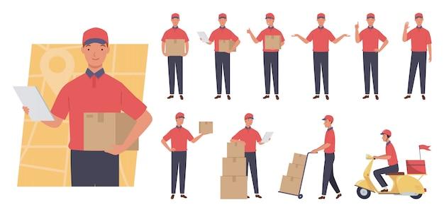 Courier tekenset. dienstverlening. verschillende poses en emoties. Premium Vector