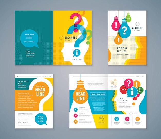 Cover boek ontwerpset, kleurrijke menselijk hoofd met gloeilamp en vraagteken achtergrond Premium Vector