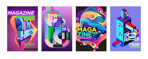 Cover en poster ontwerpsjabloon voor magazine Premium Vector