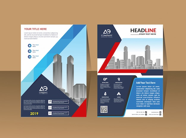 Cover lay-out brochure catalogus voor jaarverslag Premium Vector