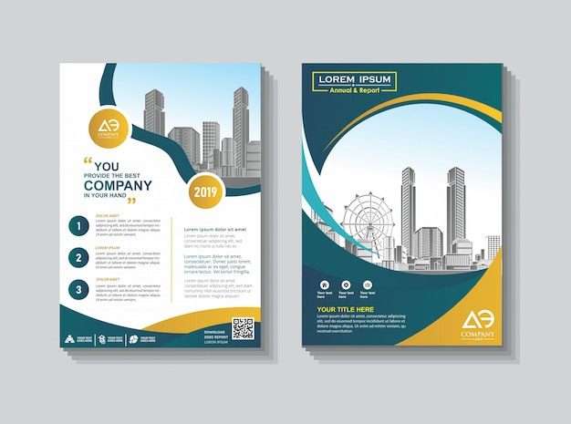 Cover lay-out brochure catalogus voor jaarverslag Premium Vector