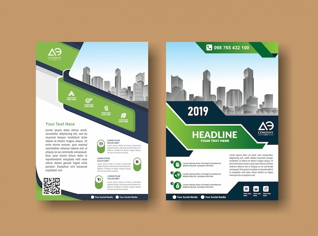 Cover lay-out brochure folder voor evenement en rapport Premium Vector