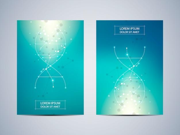 Cover of poster met molecuul achtergrond, wetenschappelijke en technologische concept Premium Vector